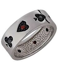 CARD RING STERLING SILVER BLACK AND RED CUBIC ZIRCONIA*BRAND NEW*MULTIPLE SIZES