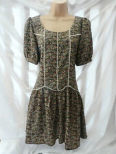 BNWT NEXT NEW ~RRP35~ Brown ditsy print VINTAGE boho embroidered tunic dress