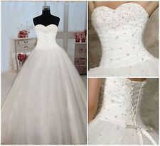 2014 New White/Ivory Wedding Dress Bridal Gown Ball Size 6 8 10 12 14 16 Custom