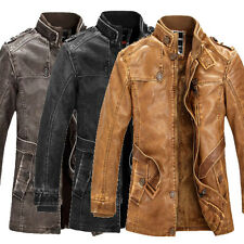 Mens Military PU Leather Jacket Bomber Trench Coat Parka Motor Cowboy Overcoat