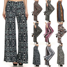 Sexy Palazzo Pants Print Elastic Band Wide Legs Stretchy Flare Pants - S M L XL