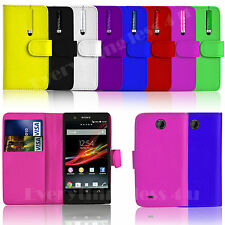 PU LEATHER WALLET SIDE BOOK FLIP CASE COVER POUCH FOR SONY MOBILES STYLUS PEN