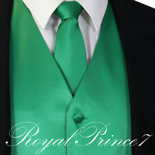 Emerald Green Men's Solid Tuxedo Suit Dress Vest Waistcoat & Neck tie Wedding