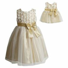 Dollie & Me Girl 4-6X and Doll Matching Gold Dress Outfit Clothes American Girl
