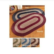 Two Tone Braided Hallway Entry Runner Accent Floor Rug Door Mat Brown Green Red