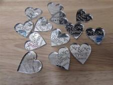 Heart shape table scatters/Favours mirror acrylic with your name & wedding date