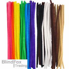 """100 x 12"""" 30cm Chenille Craft Stems Pipe Stems Cleaners Childrens Arts Crafts"""