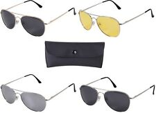 Military Aviator Pilot Sunglasses AF & NAVY Style Polarized Sunglasses w/ Case