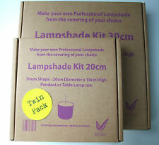 TWIN PACK DRUM LAMPSHADE MAKING KIT: 2 x PENDANT / TABLE LAMP: 20CM OR 30CM