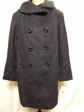 Larry Levine Shawl Collar Double Breasted Wool Coat 16W Eggplant New with Tags