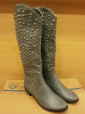 New Western Cowboy Knee High Gray Zipper Low Heel Boots Womens Shoes All Sizes
