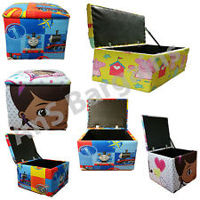 LARGE KIDS CHARACTER FOLDING STORAGE BOX OTTOMAN POUFFE STOOL TOY BOX SEAT FOOT
