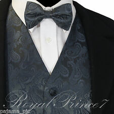 Charcoal XS - 6XL Paisley Tuxedo Suit Dress Vest Waistcoat & Bowtie Wedding Prom