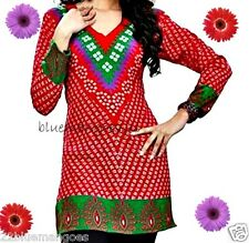 New bright red ethnic printed blouse tunic India top kurti in Crepe Material