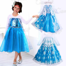 Frozen Elsa Anna Costume Disney Princess Girls Fancy Outfit Long Dress + Crown #