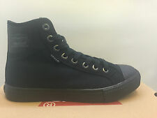 MENS LEVI'S HAMILTON BUCK BLACK MONO CHROME CANVAS SNEAKERS CASUAL ALL STAR