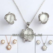 A1-S014 Fashion Pearl Cat's Eye Earrings Necklace Jewelry Set Swarovski Crystal