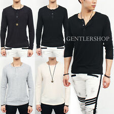 Mens Fashion Spandex Stretch Henry Neck Standard Fit Knit Tee, GENTLERSHOP