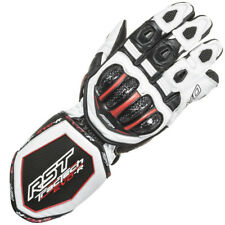 RST Tractech Evo Race Leather Motorcycle Gloves - White