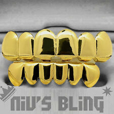14k Gold CUSTOM 6 Tooth Top Bottom GRILLZ SET Bling Mouth Teeth Caps Hip Hop NEW