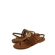 Women's Shoes Bamboo Nadya 15 Embellished T-Strap Sandals Chestnut *New*