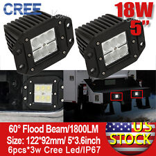 """2pcs 18W 5"""" Flood Beam CREE LED Work Backup Packing Light for Jeep JD40 and LC80"""