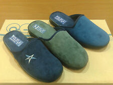 New Mens Slippers Shoes Slip On Outdoor-Indoor Classic Blue Grey House All Sizes