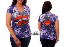 T146 PURPLE BLUE RHINESTONE HEART & WINGS LOVE T SHIRT WOMENS SIZE S M L
