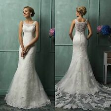Sleeveless Mermaid Lace wedding dress Bridal Gown with train Stock Sizes.