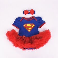 Newborn Infant Baby Girl Superman Romper Bodysuit Dress Clothes Outfits