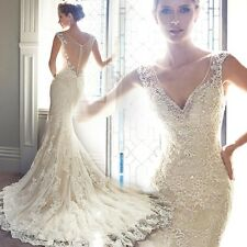 Sexy White Mermaid  Lace wedding dress Train Backless Bridal Gown stock sizes.