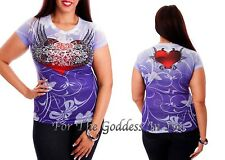 T157 RHINESTONE HEART & WING SUBLIMATION T- SHIRT WOMENS SIZE S M L