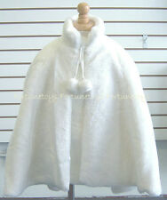 NEW Girl Vintage Fur Cape Coat WHITE (Ages 5 - 12+) Wedding/Holiday/Party