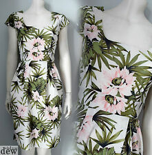 VINTAGE 1950's 40's tropical dress PALM LEAVES floral ROCKABILLY pin up 8-20