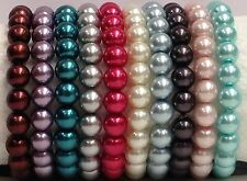 Gorgeous NEW mix color glass pearl beaded Stretch Bracelets 8mm