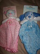 NWT Amscan PINK Bear OR BLUE Dog #1 Heart Minky Satin Security Blanket Lovey