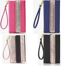Universal 2 Color Leather Wallet Case Cover For iPhone Samsung Moblie Phone TYSZ