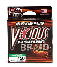 VICIOUS BRAID FISHING LINE 150 YARDS LO-VIS GREEN select lb. tests
