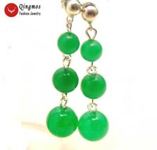 SALE Green  6-8-10mm round jade dangle Earrings with Stering Silver 925 stud-202
