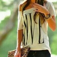 Summer Lady's Girls Cotton Blend Letter Print Casual Print Blouse Tops Basic Tee