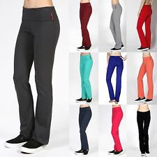 Soft Comfy YOGA PANTS Flare Bottom Fold Over Waist Leggings Athletic Lounge S-3X