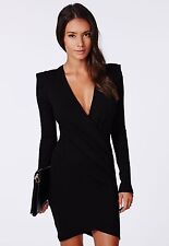 NEW MISSGUIDED #AMALINE# CROSS OVER TAILORED DRESS IN BLACK SIZE 6&12