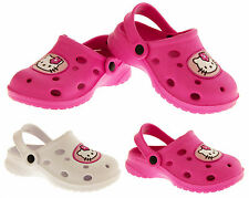 Girls HELLO KITTY Pink White Summer Beach Clog Sandals Shoes Size 7 8 9 10 11 12