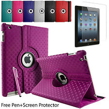Case Cover Diamond Leather 360° Rotate Folding Folio Stand For Apple & Samsung