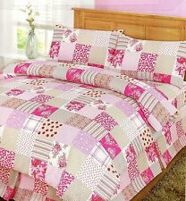 NEW PINK FLORAL PATCHWORK REVERSIBLE DUVET COVER  SET - SINGLE DOUBLE KING