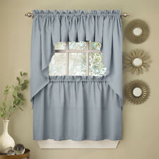 Light Blue Opaque Solid Ribcord Kitchen Curtains Choice of Tier Valance or Swag