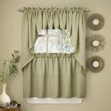 Sage Solid Opaque Ribcord Kitchen Curtains - Choice of Tiers Valance or Swag