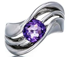 ROUND 8MM PURPLE AMETHYST SOLID 925 STERLING SILVER SOLITAIRE WAVE RING WOMENS