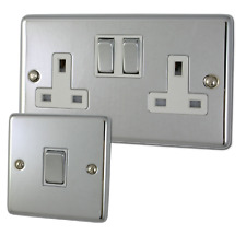 Polished Chrome Sockets and Switches with White Inserts and Matching Switches