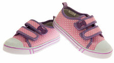 Girls Pink Polkadot Canvas Pumps Flat Summer Shoes Trainers Plimsolls Sz Size 12
